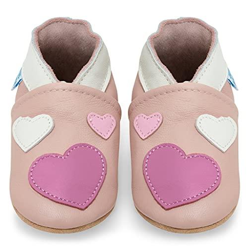 Miękkie skórzane buty do nauki chodzenia, do raczkowania, do domku dla niemowląt z zamszową podeszwą. Dla chłopców i dziewczynek 0-6 miesięcy 6-12 miesięcy 12-18 miesięcy, 18-24 miesięcy, 2-3 lata, różowy - Ró?owe serca - 0-6 Miesi?ce