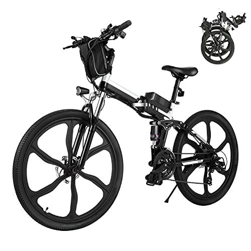 Bici Elettriche E-bike Folding Bike, 26' Ebike Uomini 250W Bici Elettrica con Batteria Rimovibile 8Ah, Shimano 21 Velocità, City Bike per Uomini e Donne