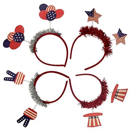 FOMIYES 4 Piezas Cabeza Del Día de La Independencia Bopper 4 de Julio Patriótico Favores Diadema Bandera Americana Estrella Aro para El Pelo para El Día de Los Soldados Fiesta Favor