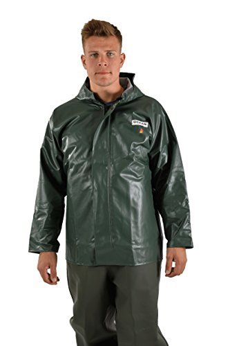 Ocean Classic Jacke - Ölzeugjacke aus PVC auf Baumwollträger. DAS Ölzeug für den Profi (M, olivgrün)