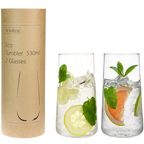 BeEco Öko Wassergläser 530ml   Elegant & Praktisch Gin und Tonic Gläser   Trinkgläser 2er Set   In einer Pappröhre   100{6a4fe47d57eadb9df4ab8253861d6b34b48098c33d95f2c19d27eb5f0bf3d904} Recyclebar
