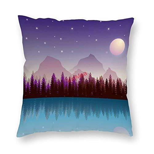 VinMea Decorative Pillow Covers Sun Moon Lake Cushion Covers for Sofa Bedroom Home Office Decor 20x20 Inch
