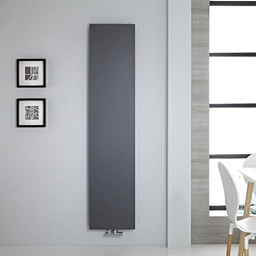 Hudson Reed Heizkörper Rubi - Vertikale Design-Heizwand aus Stahl in Anthrazit - 1800 x 400 mm - Doppellagig