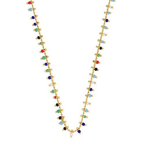 Córdoba Jewels   Gargantilla en Plata de Ley 925 bañada en Oro con Piedra semipreciosa con diseño Charms Colors Gold