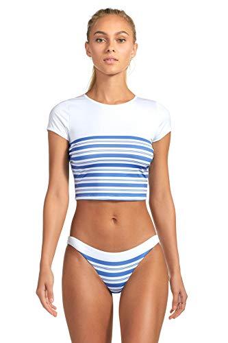 Vitamin A Women's Regatta Stripe Deia Crop Top Rash Guard Regatta Stripe 6