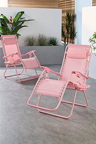 Zero Sonnenliege mit Kissen und Becherhalter, Pink, 2 Stück
