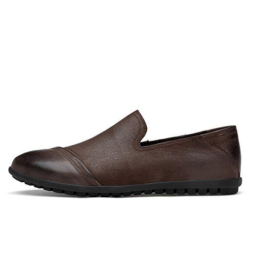 HuiLai Zhang Mens Echt leer schoenen Casual Slip On Dress Loafers for Work Zakelijk (Color : Brown, Size : 45 EU)