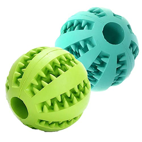 Dog Toy Balls, Durable Dog Chew Teething Toy Interactive IQ Tricky Treat Ball Non-Toxic Food Dispensing Puzzle Toy Bite Resistant Rubber Playing/Training/Tooth Cleaning Pet Toy for Small Medium Dogs