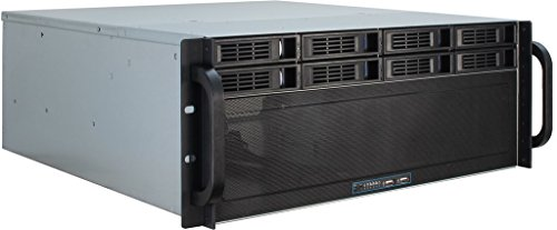 Inter-Tech 4U-4408 Estante Negro, Plata - Caja de Ordenador (Estante, Servidor, Acero, Negro, Plata, ATX,EATX,EEB,Mini-ITX,uATX, 4U)