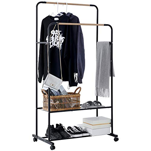 YOUDENOVA Clothes Rack on Wheels Double Rails Rolling Clothing Rack with 2 Tier Shelves Modern Heavy Duty Garment Rack with Side Rails Black