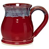 Uncommon Clay 16oz Potbelly Coffee Mug Handmade in the USA (Red/Blue)