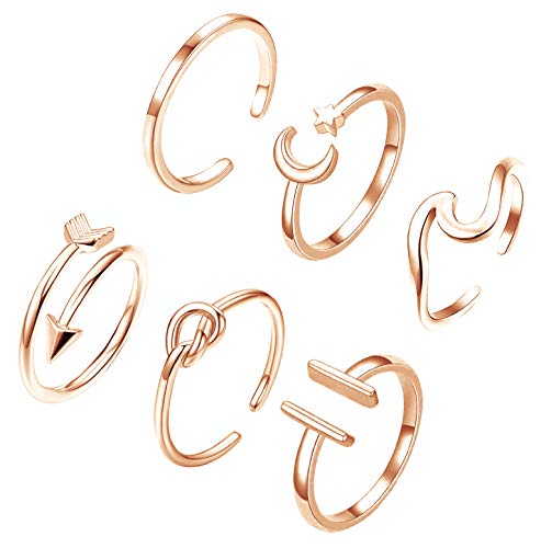 SWEET BELL 6 PCS Open Rings for Women Stackable Rings Knot Arrow Wave Rings Thumb Knuckle Rings Adjustable Open Rings Set