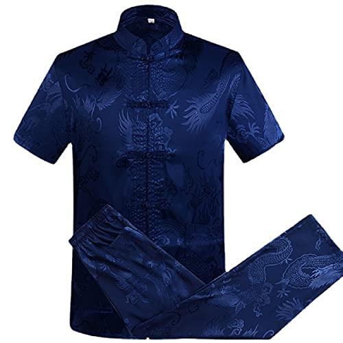 Tai Chi Vêtements Hommes - Veste Cardigan Costume Traditionnel Chinois Tang/Uniforme d'arts Martiaux à Manches Courtes/Pyjama Ample pour Hommes Costume Service à Domicile,Blue-XLarge