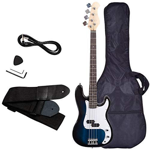 Electric Bass Guitar, Safeplus Starters Beginner Guitar Full Size 4 String Package with Guitar Bag, Strap, Guitar pick, Amp cord