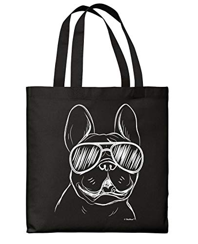 Funny Tote Bag For Women Frenchie Wearing Sunglasses Black Canvas Tote Bag
