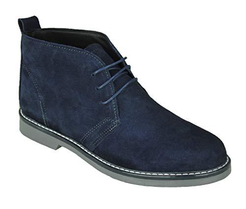 Evoga Scarpe polacchine uomo Class blu scuro sneakers scamosciate casual eleganti 100% made in Italy (44, Blu Scuro)