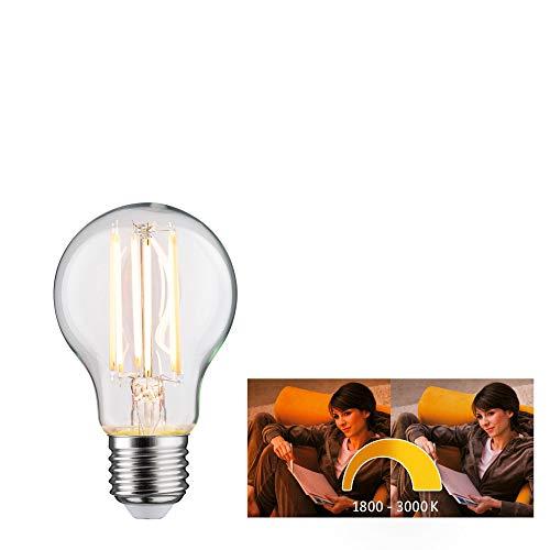Paulmann 28776 LED Lampe Filament AGL Dim to warm Allgebrauchslampe 7 Watt dimmbar Leuchtmittel Klar effizientes Licht Goldlicht bis Warmweiß 1800-3000K E27