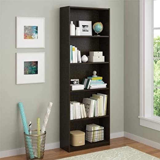 B018IRYUVQ✅Ameriwood 5-shelf Bookcase, Espresso, 3 Adjustable Shelves, Easy to Assemble