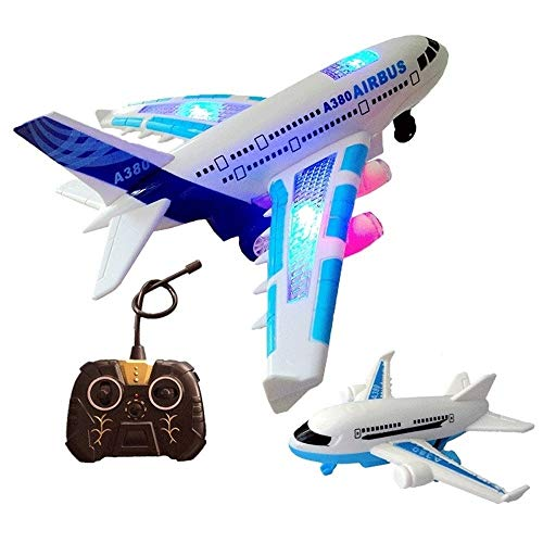 HBBOOI Ton und Licht Kinder Spielzeug-Flugzeug Spielzeug for draußen Flugzeug Luftfahrt-Modell Fernbedienung Flugzeug A380 Elektro-Passagierflugzeug Resistent gegen Fallen auf dem Boden
