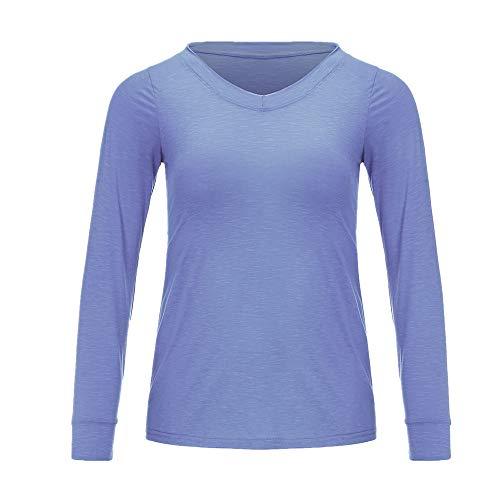 NOBRAND Fashion Sexy V-Ausschnitt Langarm Damen T-Shirt Loose Top Gr. 56, blau