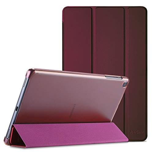 ProCase Funda Tipo Libro para Galaxy Tab A 10.1 2019 T510/T515, Carcasa Folio Ligera y Delgada con Reverso Translúcido/Soporte Plegable para 10.1 Pulgadas Galaxy Tab A SM-T510 SM-T515 2019 -Vino