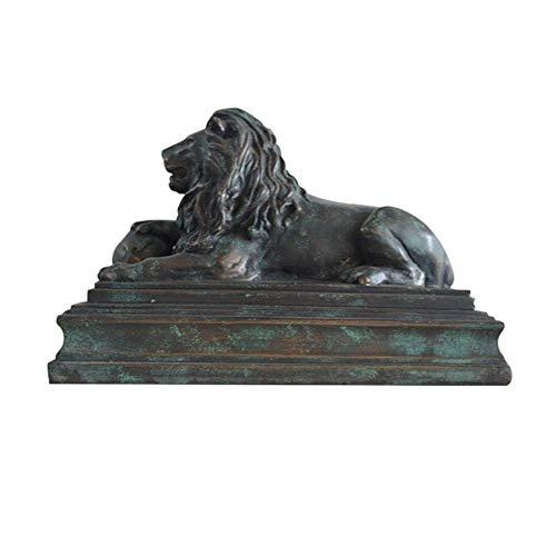 DYB Decoración de Escultura de león, Estatua de león Sentado, artesanía de Resina, colección de Animales para el hogar, decoración, Adorno Retro, Regalo
