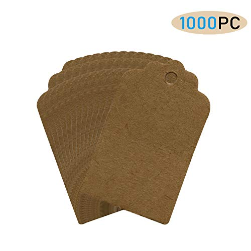 FORNY 1000 Pcs Price Tags,Unstrung Merchandise Marking Label(1.75 x 1.1 Inches) (1000PC, Brown)