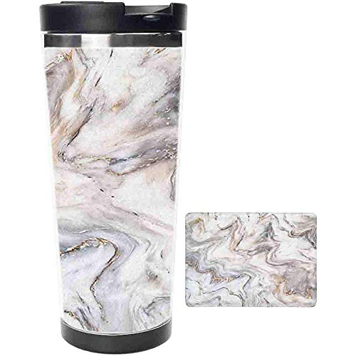 Travel Tumbler-Abstract Luxuriöse weiße goldene Marmor Steinwandfliese Edelstahl Kaffeetasse & Tasse-Thermotasse mit Spritzwassergeschütztem Schiebedeckel-16oz