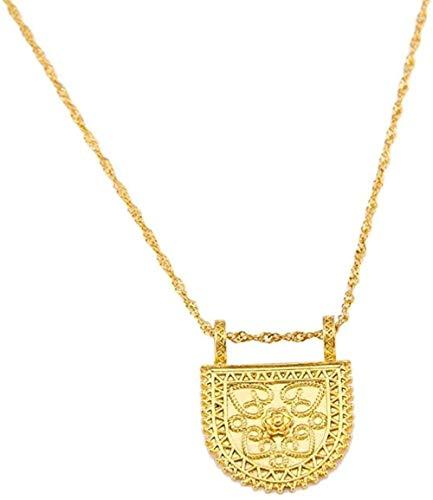 YZXYZH Collar Collares con Colgante De Cruz Etíope, Joyería De Color Dorado para Mujer, Collar De Eritrea con Cruz Africana, Longitud 50Cm
