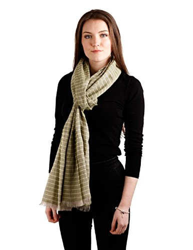 Lightweight Irish Scarf Green Striped Celtic Linen Blanket Scarf 20 1/2 Inches x 98 1/2 Inches Made in Ireland