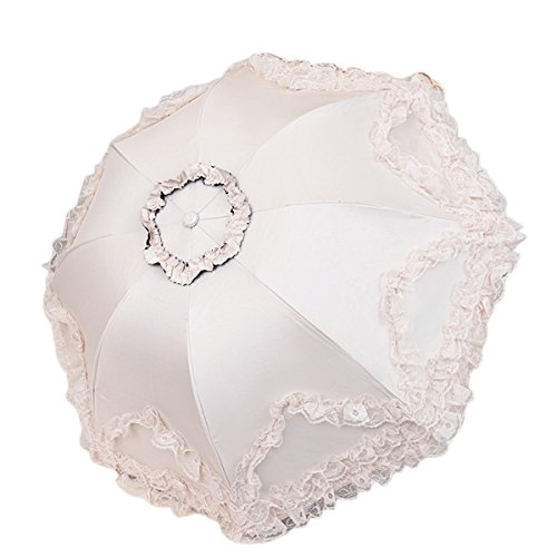 BESTOYARD Wedding Lace Parasol Umbrella Bridal Embroidery Umbrella Wedding Party Favor (Beige)