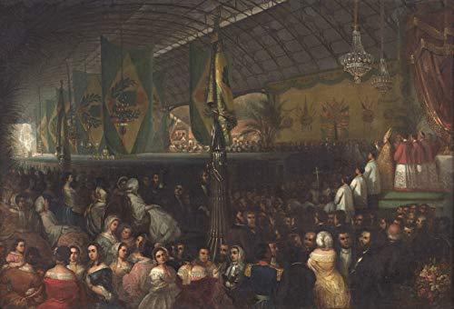 """Inauguração da Ferrovia D. Pedro II (Estação Ferroviária Central Brasil) de Moureaux 1855 em Tela""""Canvas"""" Repro (Tela""""Canvas"""", 55cm x 38cm Tamanho de imagem)"""