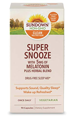 Melatonin Capsules by Sundown, for Sound, Quality Sleep*, Vegetarian Herbal Blend, Non-GMOˆ, Free of Gluten, Dairy, Artificial Flavors, 5mg, 90 Count