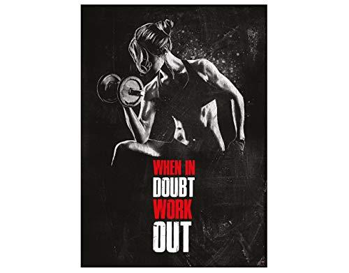 GREAT ART Motivationsposter 59,4 x 42 cm – Poster Format A2 Wandposter Fitnessposter für das Fitnesstudio, Wohnung und Trainingsraum Motivational Quotes – When in Doubt Work Out – Nr.5