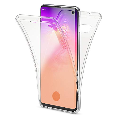 NALIA 360 Grad Hülle kompatibel mit Samsung Galaxy S10, Full-Cover vorne hinten R&um Handyhülle Doppel-Schutz, Dünn Ganzkörper Hülle Silikon Transparenter Bildschirmschutz Bumper, Farbe:Transparent