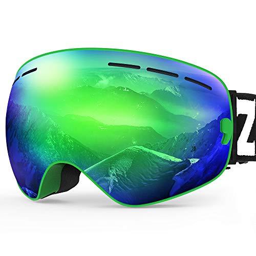 ZIONOR X Ski Snowboard Snow Goggles OTG Design for Men Women with Spherical Detachable Lens UV Protection Anti-Fog (VLT 14% Green Frame Revo Green Lens)