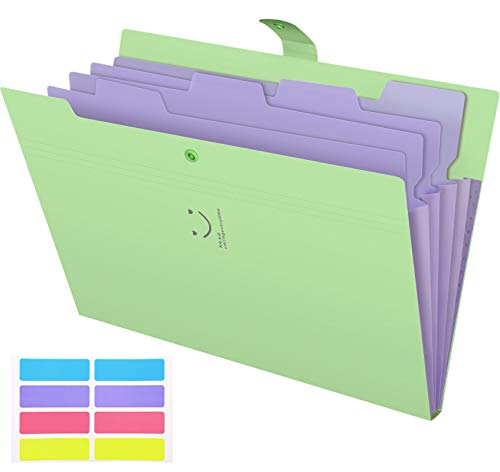 Skydue Letter A4 Paper Expanding File Folder Pockets Accordion Document Organizer (Green)