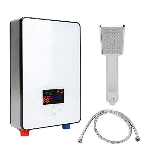 Scaldabagno senza serbatoio, riscaldatore istantaneo elettrico ad acqua calda da 220V 6500W con display LCD retroilluminato fornito con tubo flessibile di scarico doccia per doccia bagno cucina