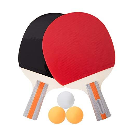 Liulu - Raqueta de ping pong, profesional para entrenamiento avanzado, con funda de transporte y 3 bolas para jugar torneo (color rojo y negro)