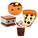 Anboor 4 Piezas Squishies Smore Waffle Cake Pizza Coffee Cup Kawaii Scented Soft Slow Rising Squeeze...