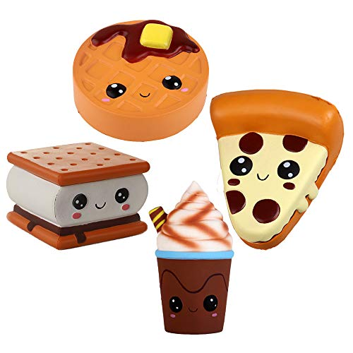 Anboor 4 Pcs Squishies Smore Waffle Cake Pizza Coffee Cup Kawaii Scented Soft Slow Rising Squeeze Stress Relief Kids Toy Xmas Gift