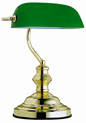 Globo Tischleuchte Bankerlampe messing Glas grün, Schalter 1 x 60 W, E27, H: 36 cm T: 25 cm 2491