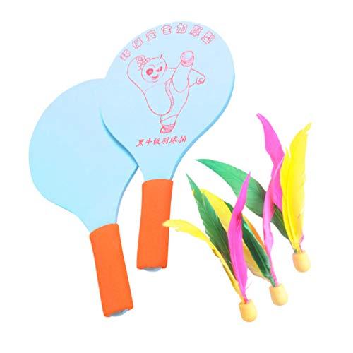 CLISPEED Juego de Raquetas de Bádminton Práctica de Playa Juego de Paleta Raqueta Pequeña de Madera con 3 Pajaritas para Niños Adultos Principiantes (Color Aleatorio)