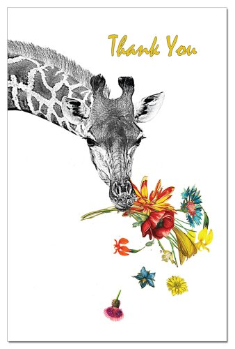 Tree-Free Greetings 94597 ECOnotes Thank You Card Set, 4 x 6 Inches, 12 Count Cards with Envelopes, Floral Giraffe