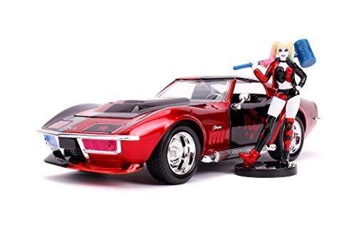 Jada Toys 253255019, 1969, Chevy Corvette Stingray, Maßstab 1:24, Freilauf, Türen & Kofferraum & Motorhaube zum Öffnen, inkl. Die-cast Harley Quinn Figur