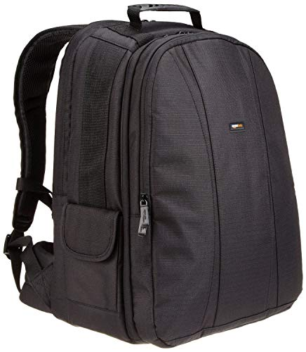Amazon Basics DSLR Camera and Laptop Backpack Bag - 13 x 9 x 18 Inches, Black And Orange