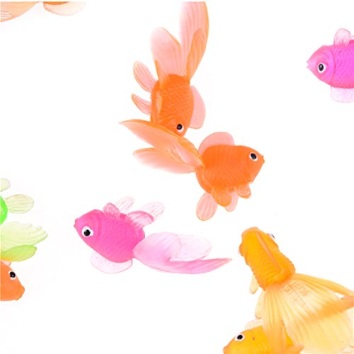 Ireav Soft Rubber Gold Fish - 50 Pieces Small Goldfish Bath Toy Christmas Birthday Party Kids Toy Plastic Simulation Small Goldfish