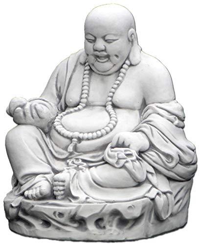 gartendekoparadies.de Massive Steinfigur lustiger Stein Buddha Mönch Gartendeko aus Steinguss frostfest