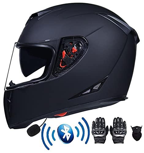Casco de cara completa Bicicleta de montaña Bluetooth Motorcycle Casco Cascos Cascos con visores anti-niebla a prueba de lluvia ECE Aprobado Black S-XXL Agregar accesorios ( Color : Black , Size : M )