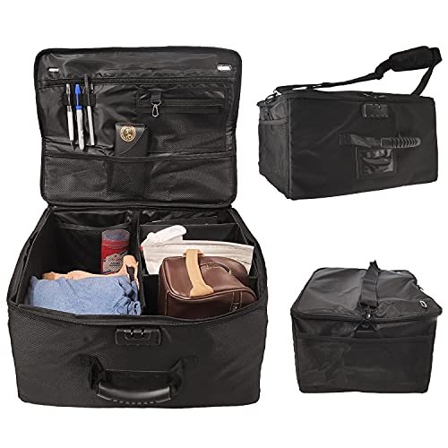 Collapsible Trunk Organizer - Storage Caddy For Car, Truck, SUV & Golf Cart Organization - Portable Bin + Car Ogranizer With Built-In Combination Lock & Shoulder Strap For Travel
